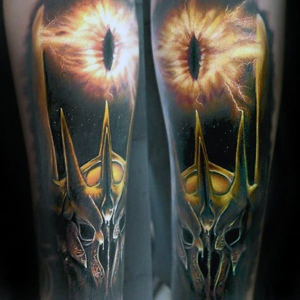3d Forearm Sleeve Cool Male Eye Of Sauron Tattoo Designs