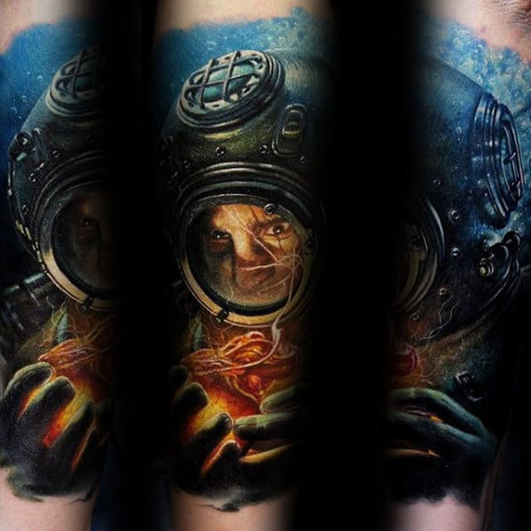 3d Forearm Sleeve Diver Underwater Mens Tattoo Designs