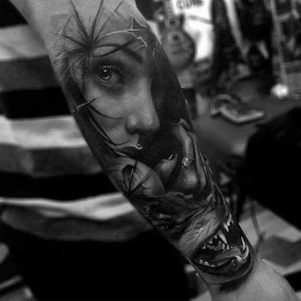 3d Forearm Wolf With Portrait Male Tattoo
