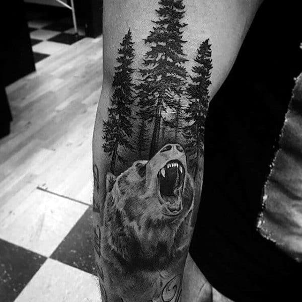 3d Forest California Bear Mens Full Arm Tattoos