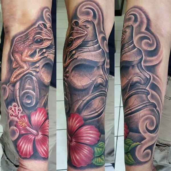3d Frog On Shaman Guys Taino Forearm Sleeve Tattoos
