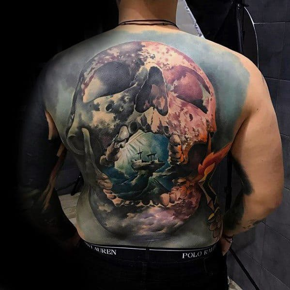 3d Full Back Skull Male Cool Morph Tattoo Ideas