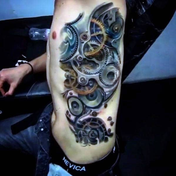 3d Gears Mens Great Rib Cage Side Tattoo Idea Inspiration