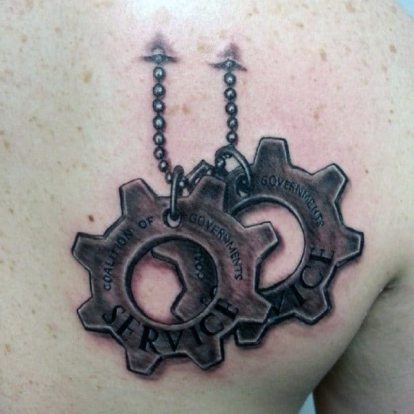 3d Gears Of War Guys Badges Chest Tattoo