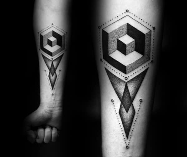 3d Geometric Forearm Tattoo Ideas For Males