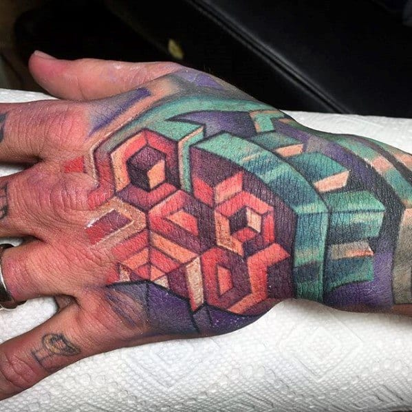 3d Geometric Hand Male Tattoos