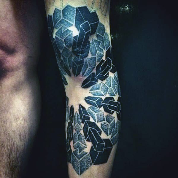 3d Geometric Knee Tattoos For Guys