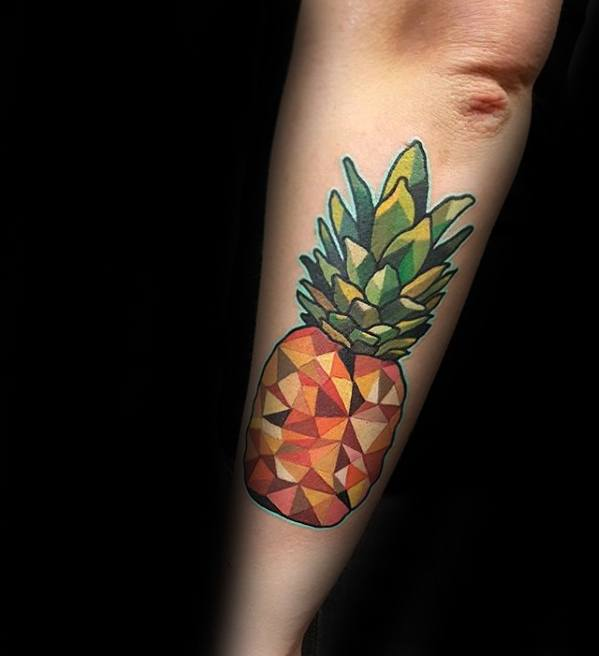3d Geometric Outer Forearm Mens Pineapple Tattoo Design Ideas
