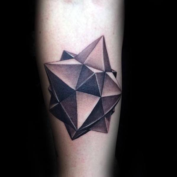 3d Geometric Shape Awesome Mens Inner Forearm Tattoo