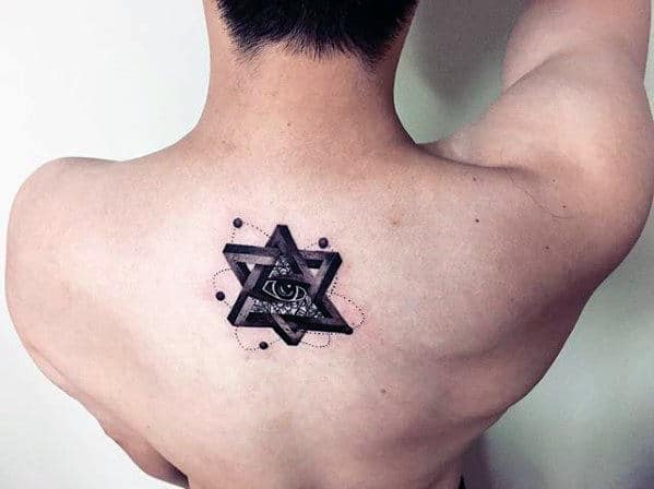 3d Geometric Shape Eye Of Providence Mens Small Upper Back Tatto
