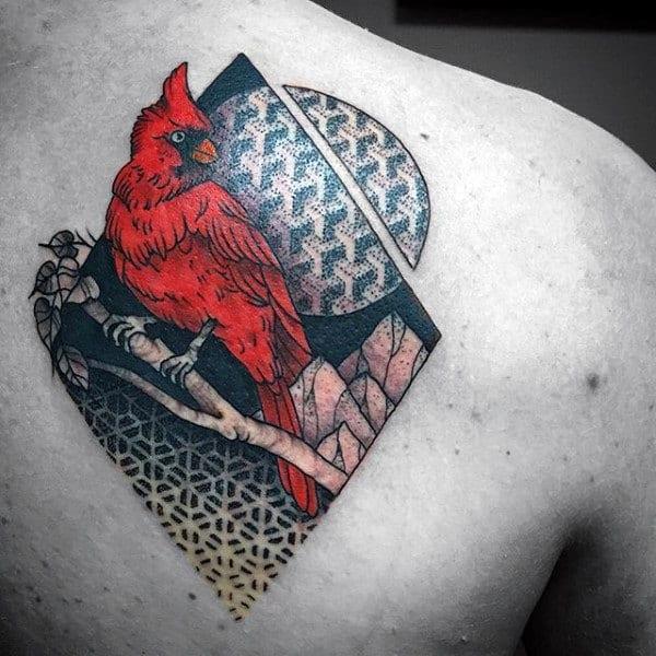 3d Geometrical Cardinal Mens Shoulder Blade Tattoo Ideas