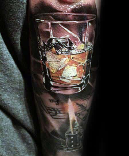 3d Glass With Whiskey Male Jack Daniels Tattoo Sleeve