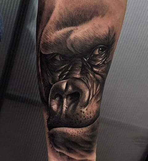 3d Gorilla Head Guys Forearm Sleeve Tattoo