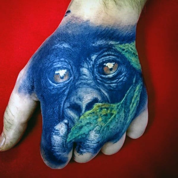 3d Gorilla With Green Leaf Mens Hand Tattoos