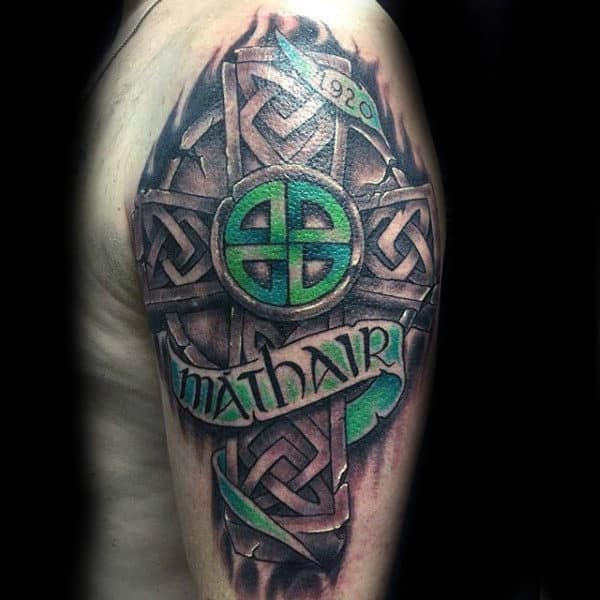3d Green And Black Ink Celtic Cross Half Sleeve Guys Tattoos