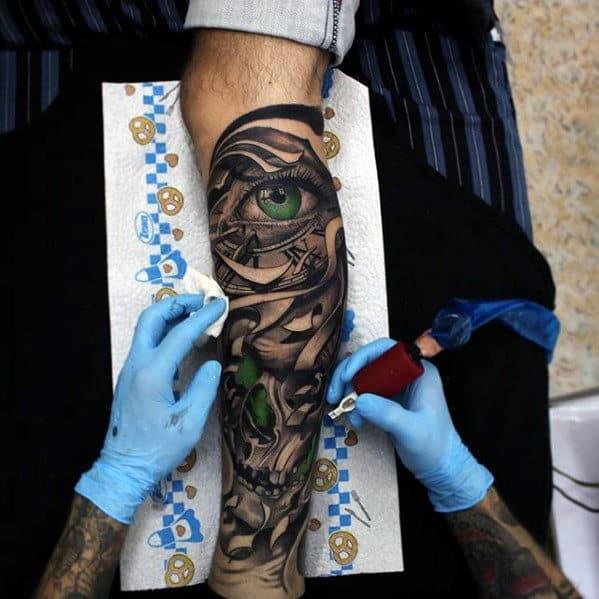 3d Green Eye And Skull Guys Leg Sleeve Tattoos