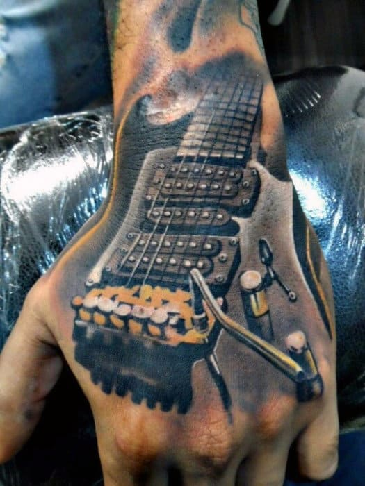3d Guitar Badass Male Hand Tattoo