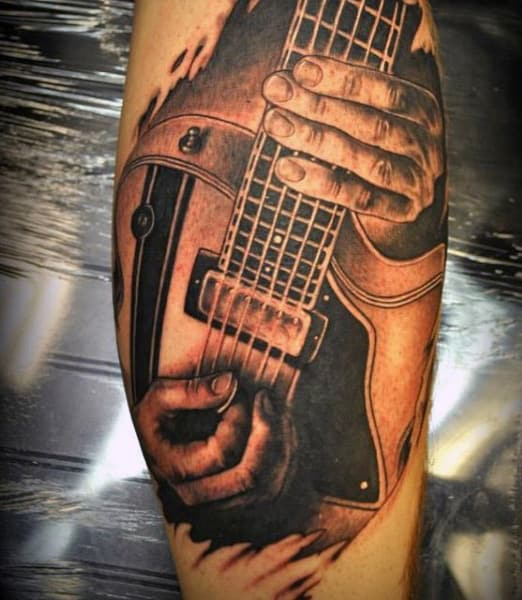 3D Guitar Tattoos For Guys