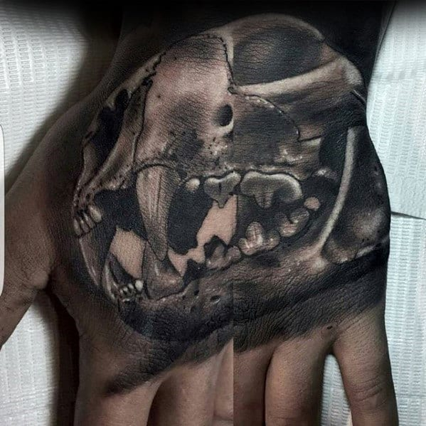 3d Guys Animal Skull Tattoo On Hand