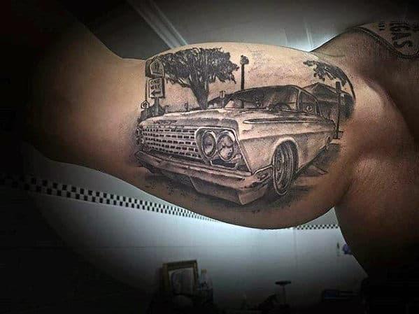 3d Guys Bicep Chevy Car Tattoo Ideas