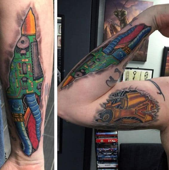 3d Guys Circuit Board Arm Tattoos