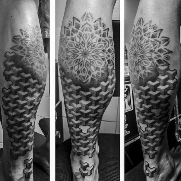 3d Guys Factal Lower Leg Sleeve Tattoo Ideas