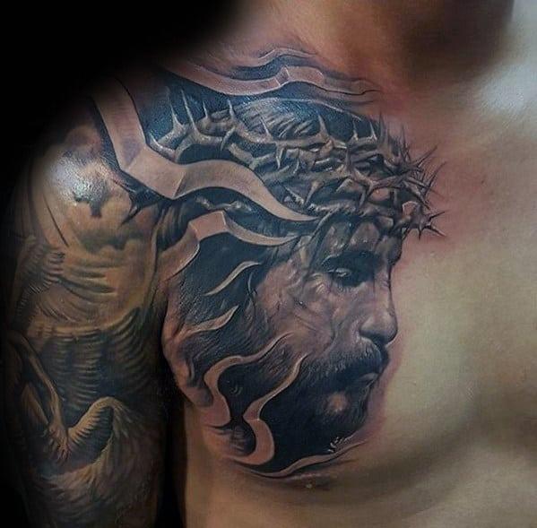 3d Guys Jesus Face Tattoo On Upper Chest