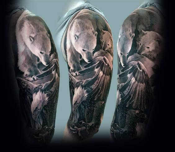 3d Guys Polar Bear Sleeve Tattoo With Realistic Design