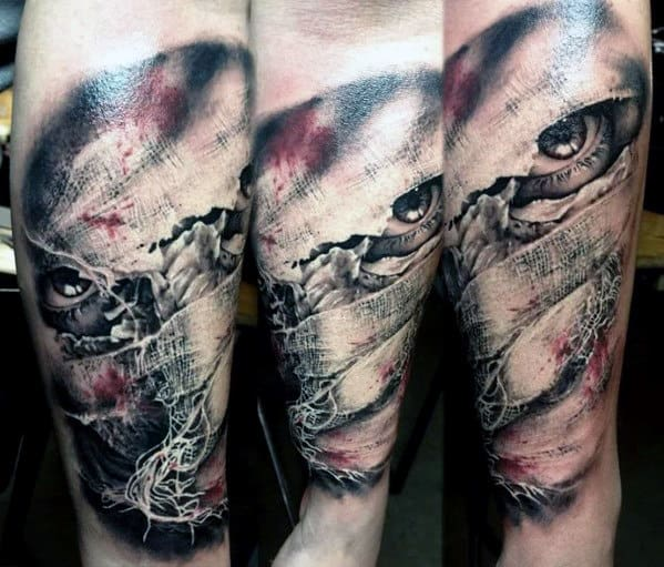 3d Guys Realistic Mummy Outer Forearm Tattoos