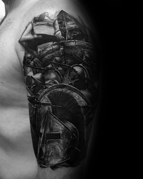 3d Guys Shield Half Sleeve Black And Grey Tattoos
