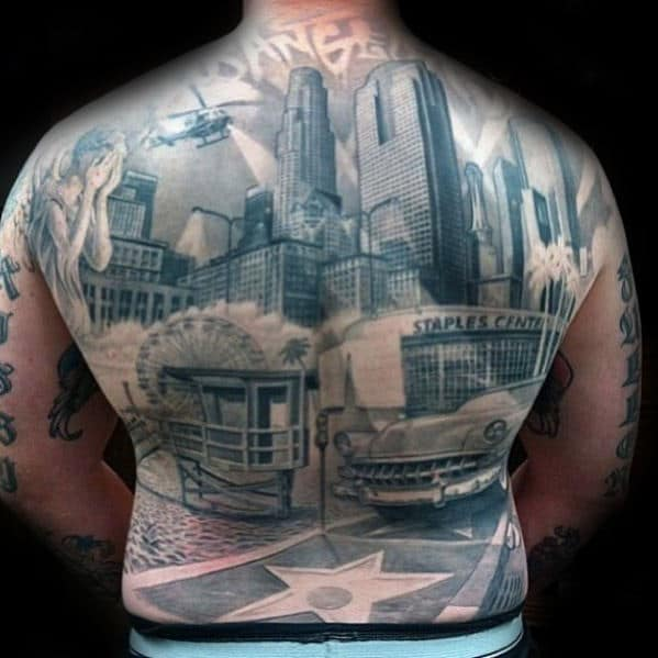 70 city skyline tattoo designs for men downtown ink ideas. Black Bedroom Furniture Sets. Home Design Ideas