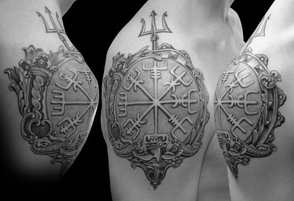 3d Guys Viking Compass Shoulder Cap Tattoos
