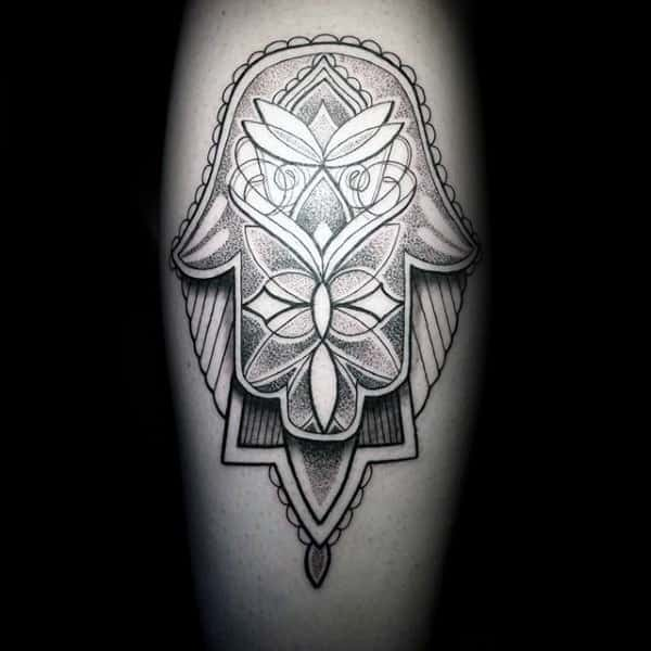 3d Hamsa With Shadow And Pattern Mens Leg Tattoos