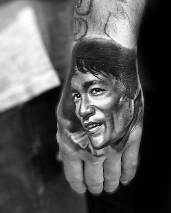 3d Hand Bruce Lee Tattoos Male