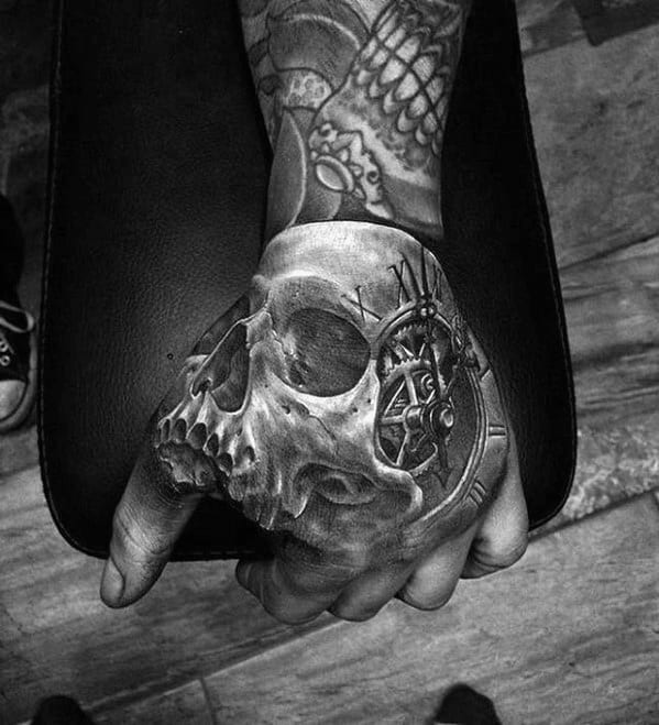 3d Hand Mens Skull With Roman Numeral Gear Clock Hand Tattoo