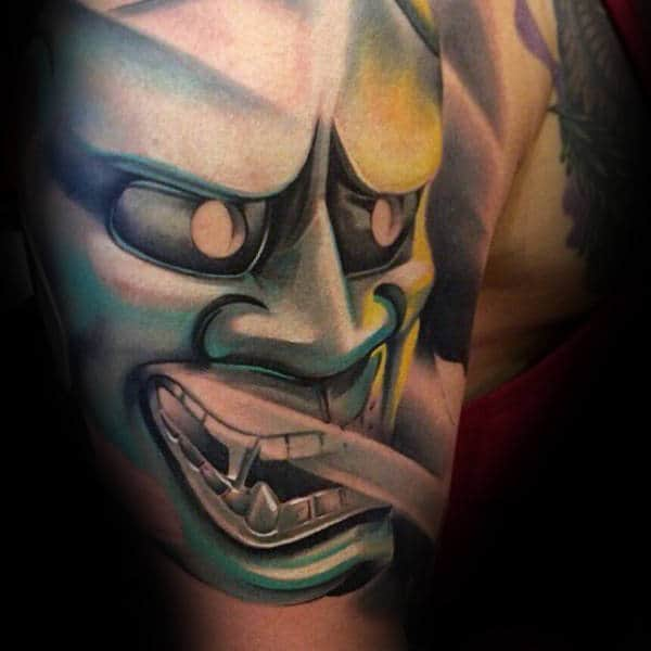 3d Hannya Mask Bicep Arm Tattoos For Guys