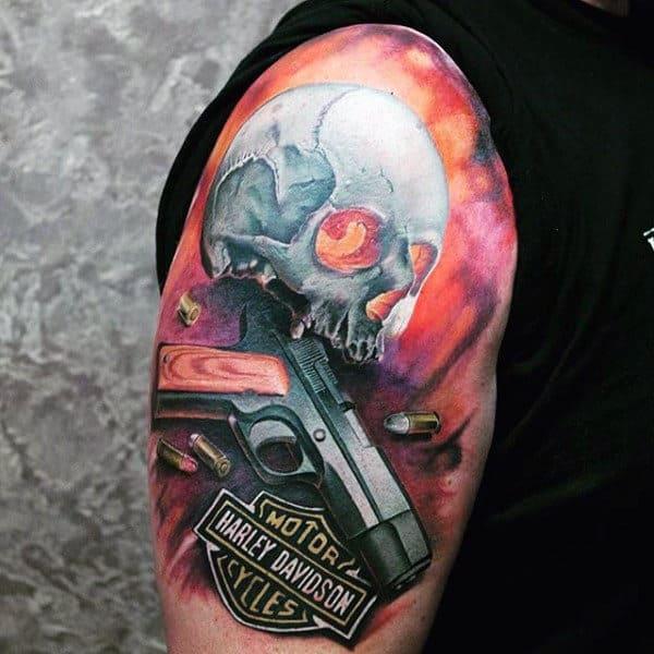3d Harley Davidson Skull Half Sleeve Guys Tatoos