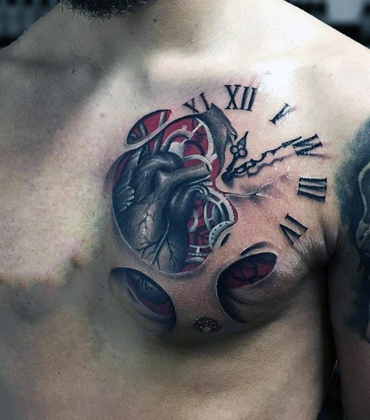 3d Heart Tattoo Ideas For Men With Clock On Chest