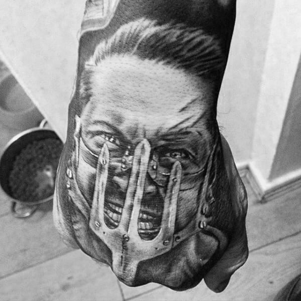 3d Heavily Shaded Hand Mad Max Mens Tattoo Ideas
