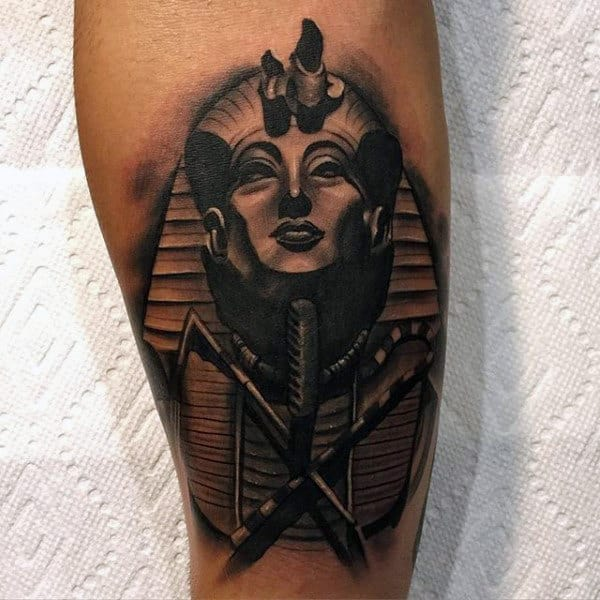 3d Heavily Shaded Mens King Tut Pharaoh Tattoo On Arm