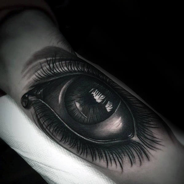 3d Heavily Shaded Realistic Eye Tattoo On Arm For Men