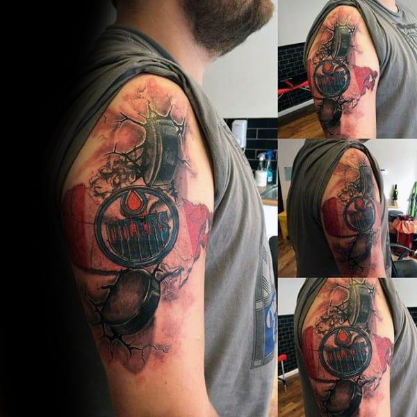 3d Hockey Puck Oilers Guys Arm Tattoos