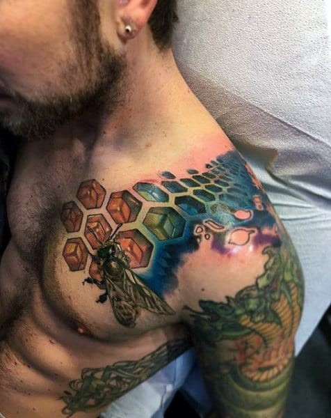 3d Honeycomb Bee Mens Houlder And Chest Tattoo