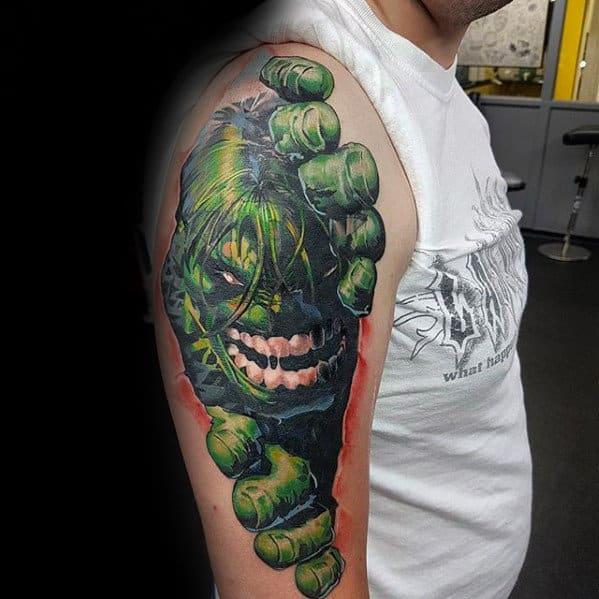 3d Hulk Guys Marvel Arm Tattoo