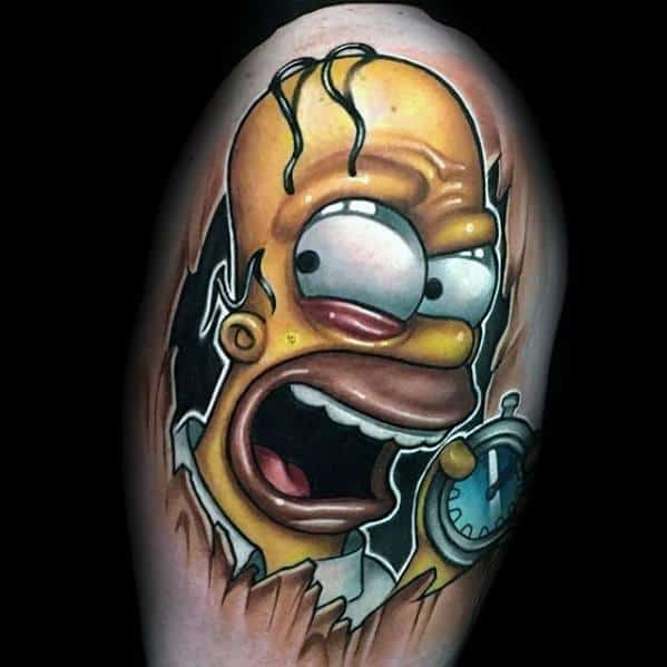 3d Hyper Realistic Manly Simpsons Tattoos For Males