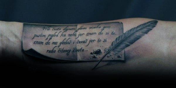 3d Ink Pen Scroll Mens Inner Forearm Tattoo