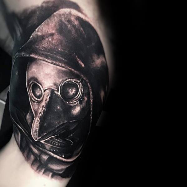 3d Inner Arm Bicep Distinctive Male Plague Doctor Tattoo Designs