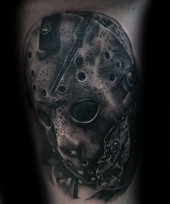 60 Jason Mask Tattoo Designs For Men - Friday The 13th Ideas Bullet Band Tattoo