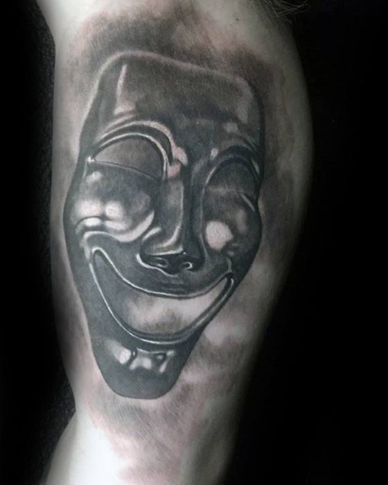 3d Inner Arm Laughing Theatre Drama Mask Tattoo Ideas For Males
