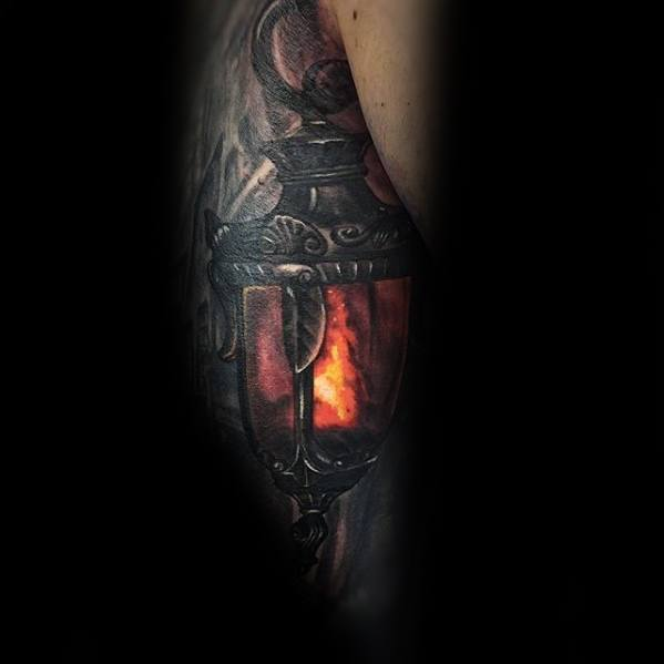 3d Inner Arm Tricep Lantern Mens Tattoo Designs